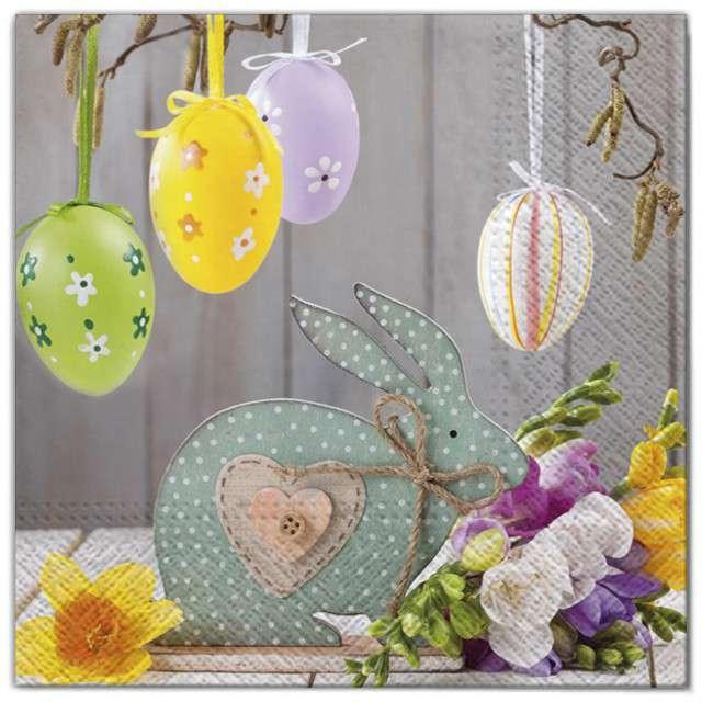 """Serwetki """"Wielkanoc - pisanki na wstążkach"""", Maki, 33 cm, 20 szt"""