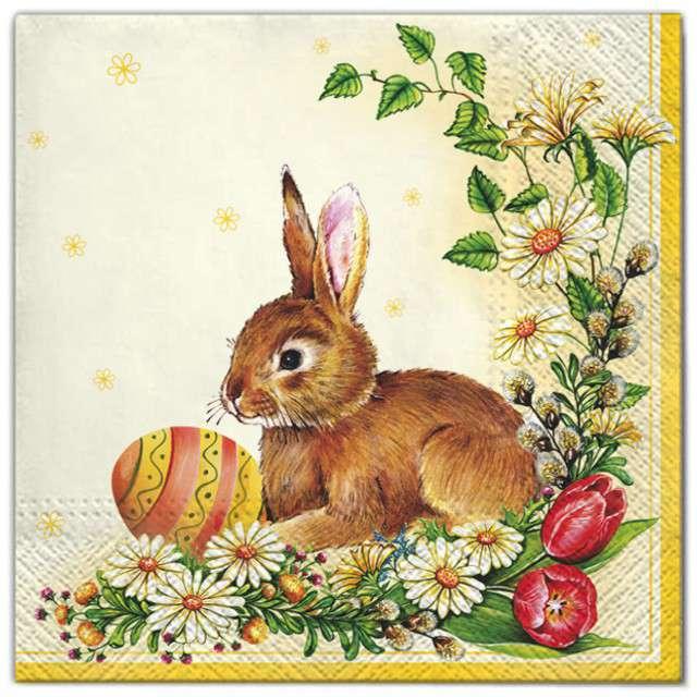 """Serwetki """"Wielkanoc - królik i jajko"""", Maki, 33 cm, 20 szt"""