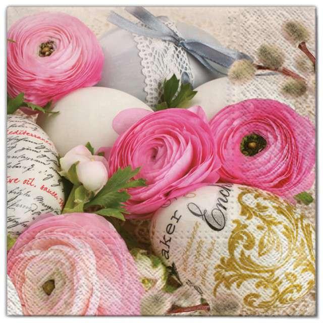 """Serwetki """"Wielkanoc - jajka w kwiatach """", Maki, 33 cm, 20 szt"""