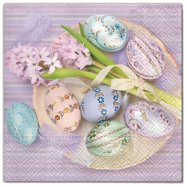 """Serwetki """"Wielkanoc - jajka i kwiaty"""", Maki, 33 cm, 20 szt"""