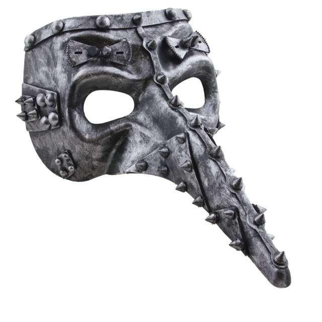 "Maska ""Dżuma - Steampunk"", srebrna, FunnyFashion"