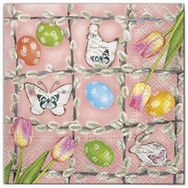 """Serwetki """"Wielkanoc - kompozycja w ramce"""", Maki, 33 cm, 20 szt"""