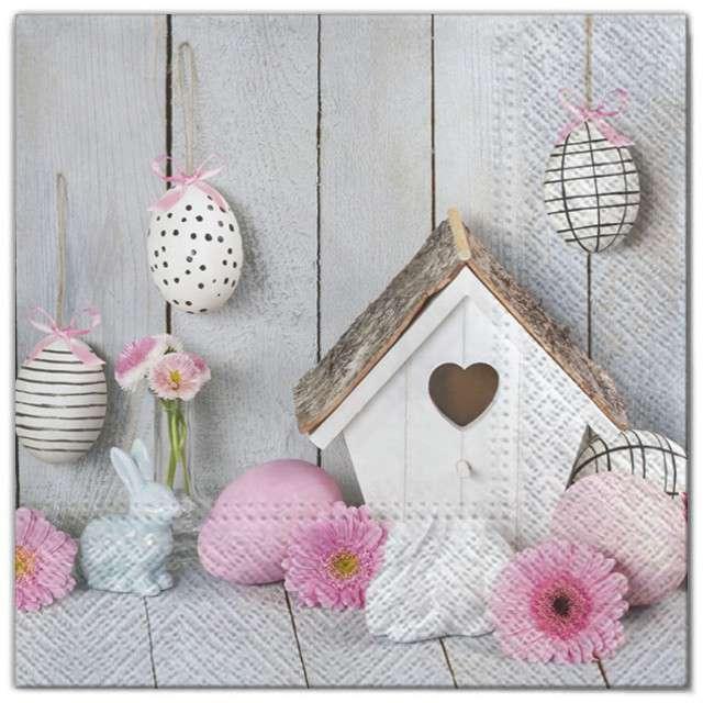 """Serwetki """"Wielkanoc - budka dla ptaków"""", Maki, 33 cm, 20 szt"""