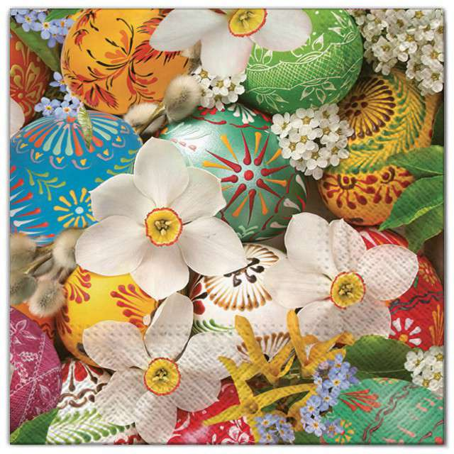 """Serwetki """"Wielkanoc - jajka w kwiatach"""", Maki, 33 cm, 20 szt"""