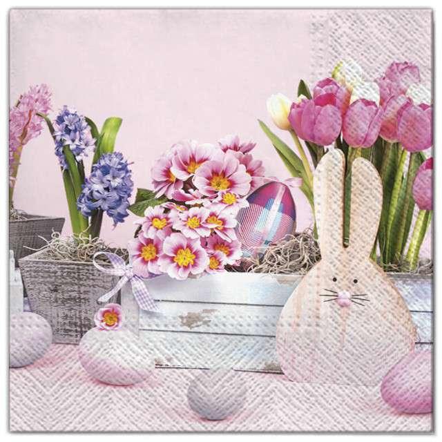 """Serwetki """"Wielkanoc - drewniaky królik"""", Maki, 33 cm, 20 szt"""