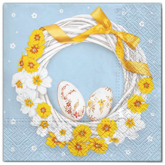 """Serwetki """"Wielkanoc - wieniec żółty"""", Maki, 33 cm, 20 szt"""