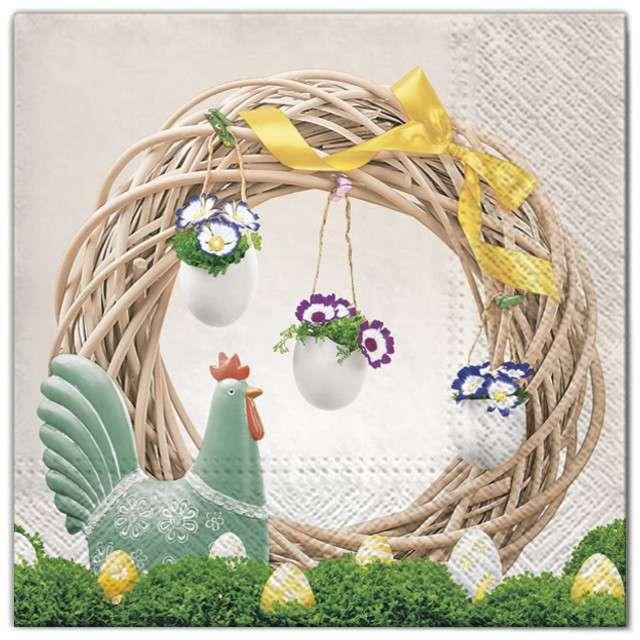"""Serwetki """"Wielkanoc - jajka na wieńcu"""", Maki, 33 cm, 20 szt"""