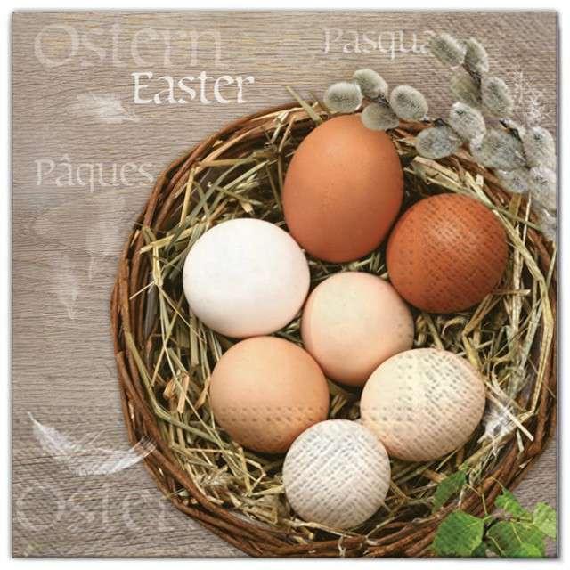 """Serwetki """"Wielkanoc - jajka w koszu"""", Maki, 33 cm, 20 szt"""