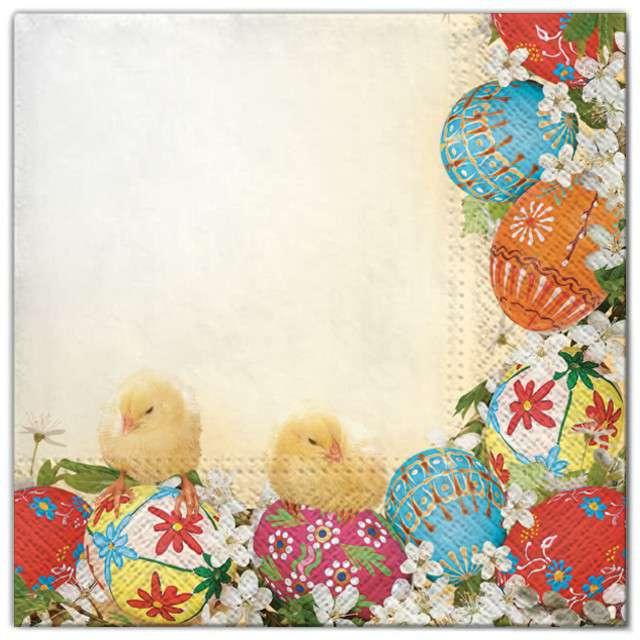 """Serwetki """"Wielkanoc - ramka z jajek"""", Maki, 33 cm, 20 szt"""