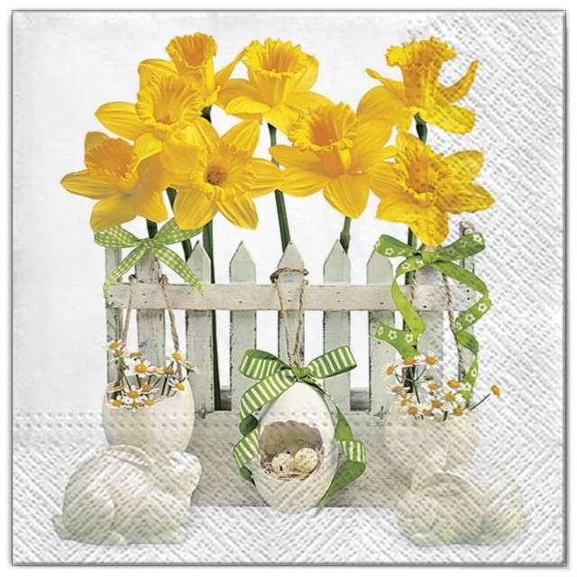 """Serwetki """"Wielkanoc - żonkile na płocie"""", Maki, 33 cm, 20 szt"""