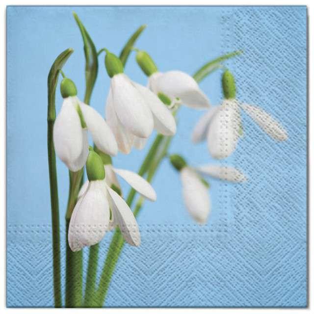 """Serwetki """"Kwiaty przebiśniegi"""", Maki, 33 cm, 20 szt"""