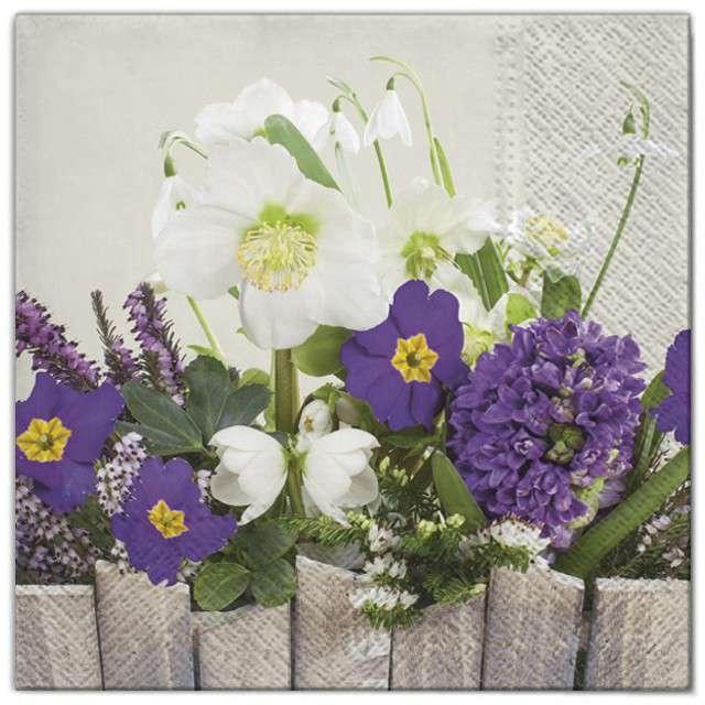 """Serwetki """"Kwiaty na płocie"""", Maki, 33 cm, 20 szt"""