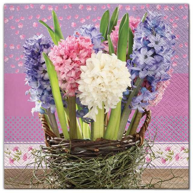 """Serwetki """"Kwiaty hiacynty w koszu"""", Maki, 33 cm, 20 szt"""