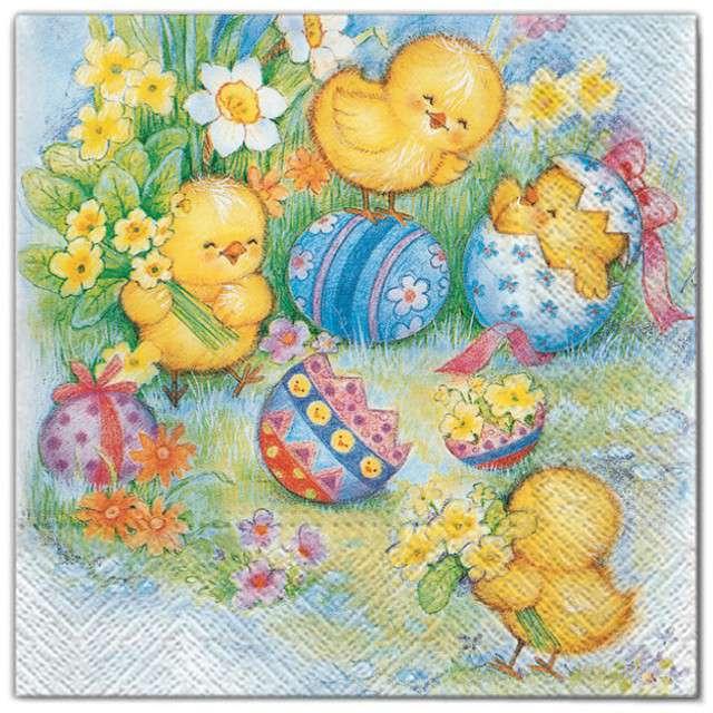 """Serwetki """"Wielkanoc - pisklaki na łące"""", Maki, 33 cm, 20 szt"""