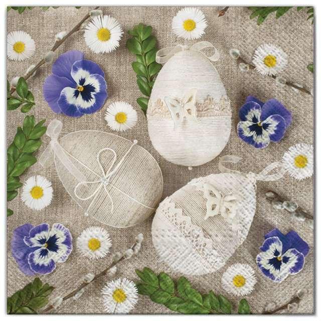 """Serwetki """"Wielkanoc - jajka ze sznurka"""", Maki, 33 cm, 20 szt"""