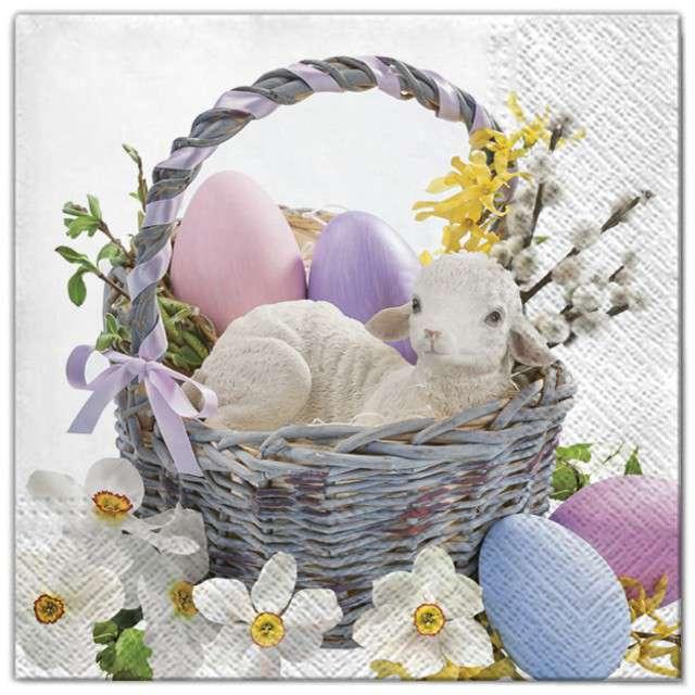 """Serwetki """"Wielkanoc - baranek w koszyku"""", Maki, 33 cm, 20 szt"""