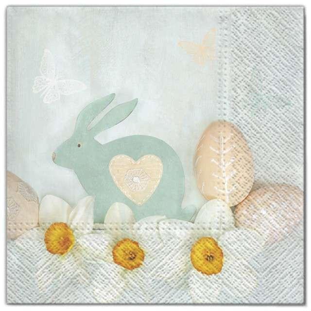 """Serwetki """"Wielkanoc - szary królik"""", Maki, 33 cm, 20 szt"""