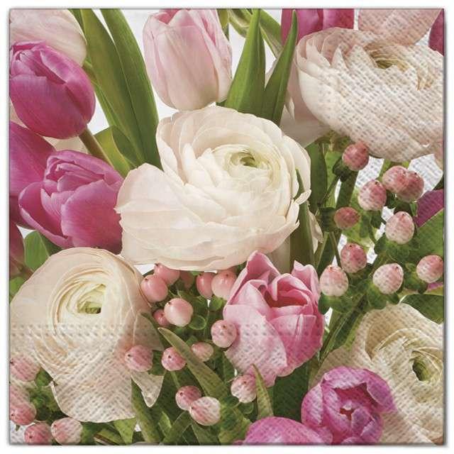 """Serwetki """"Kwiaty pastelowe różowe"""", Maki, 33 cm, 20 szt"""