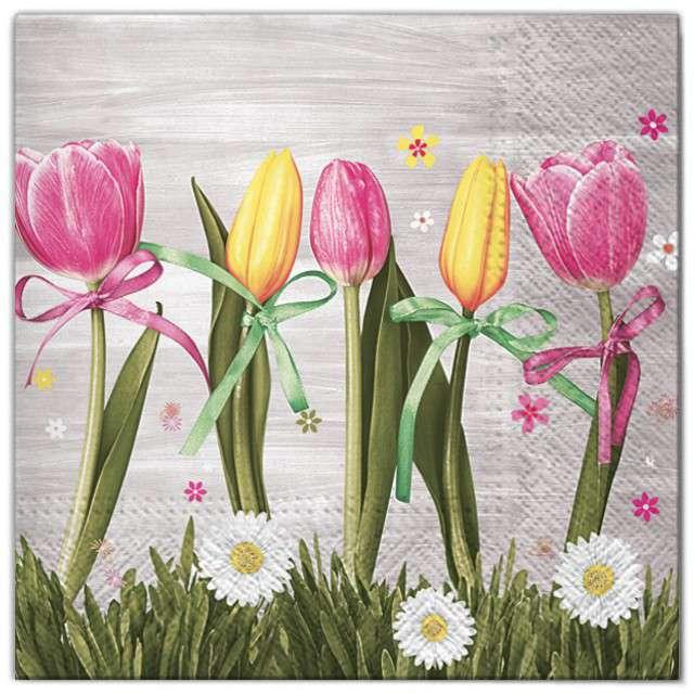 """Serwetki """"Kwiaty tulipany żółto-różowe"""", Maki, 33 cm, 20 szt"""