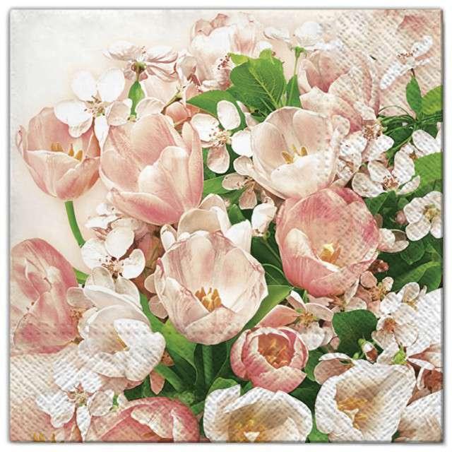 """Serwetki """"Kwiaty tulipany różowe"""", Maki, 33 cm, 20 szt"""