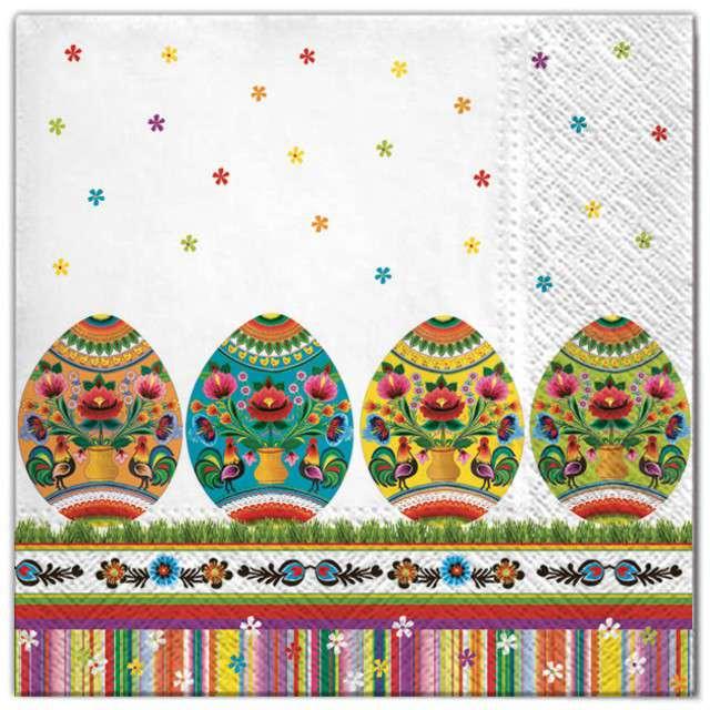 """Serwetki """"Wielkanoc - ludowe jajka"""", Maki, 33 cm, 20 szt"""