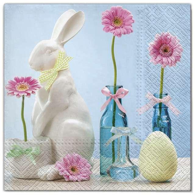 """Serwetki """"Wielkanoc - porcelanowy królik"""", Maki, 33 cm, 20 szt"""