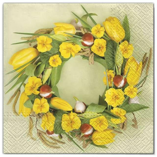 """Serwetki """"Kwiaty wieniec z pierwiosnków"""", Maki, 33 cm, 20 szt"""