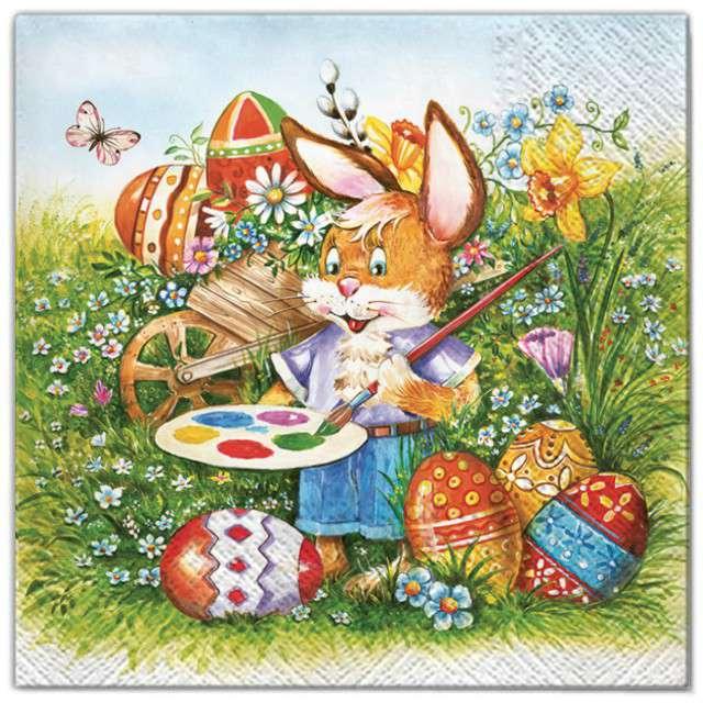 """Serwetki """"Wielkanoc - królik malarz"""", Maki, 33 cm, 20 szt"""