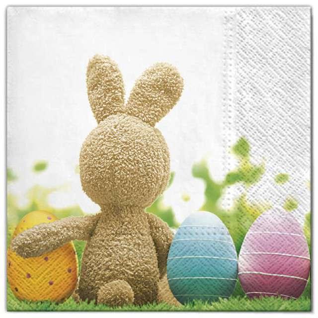 """Serwetki """"Wielkanoc - królik z jajami"""", Maki, 33 cm, 20 szt"""