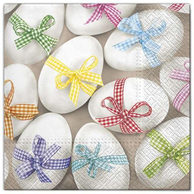"""Serwetki """"Wielkanoc - jajka z kokardami"""", Maki, 33 cm, 20 szt"""