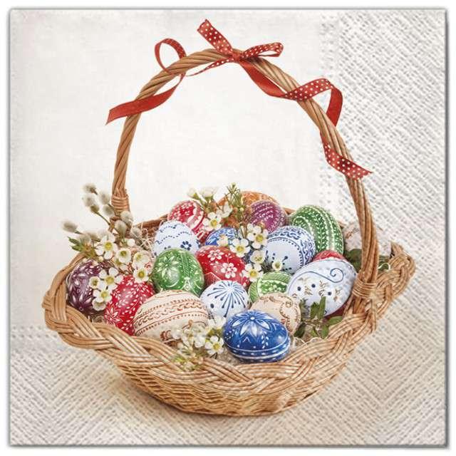 """Serwetki """"Wielkanoc - pisanki w koszyczku"""", Maki, 33 cm, 20 szt"""