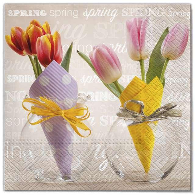 """Serwetki """"Wielkanoc - tulipany w papierze"""", Maki, 33 cm, 20 szt"""