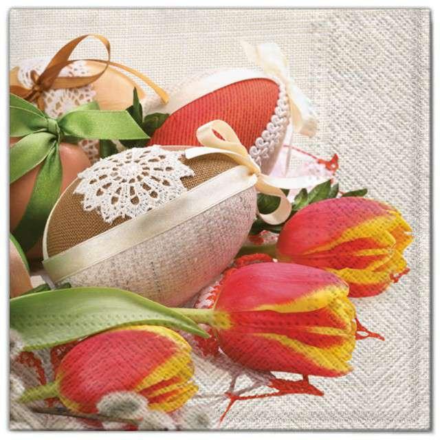 """Serwetki """"Wielkanoc - pisanki z tulipanami"""", Maki, 33 cm, 20 szt"""