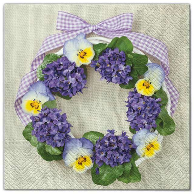 """Serwetki """"Kwiaty fioletowy wieniec"""", Maki, 33 cm, 20 szt"""