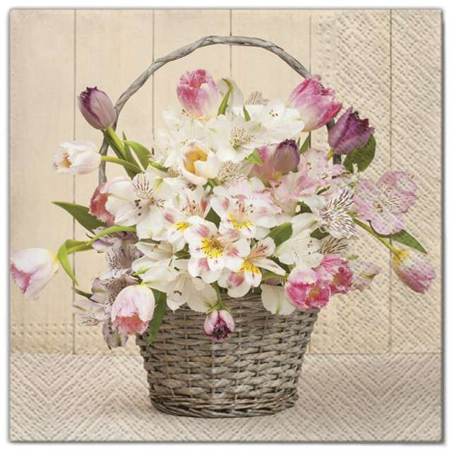 """Serwetki """"Kwiaty bukiet biało-różowy"""", Maki, 33 cm, 20 szt"""