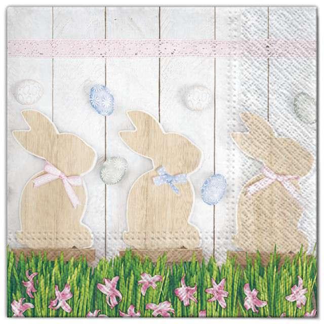 """Serwetki """"Wielkanoc - drewniane króliki"""", Maki, 33 cm, 20 szt"""