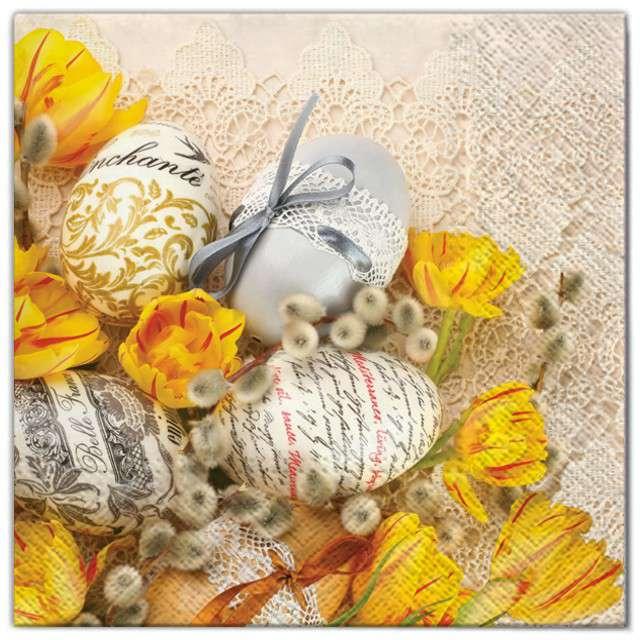 """Serwetki """"Wielkanoc - żółte tulipany i jajka"""", Maki, 33 cm, 20 szt"""