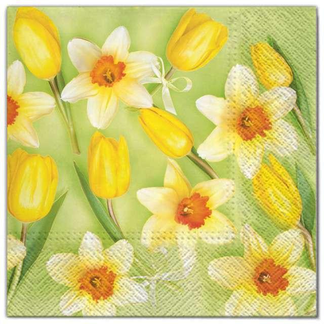 """Serwetki """"Kwiaty żółte żonkile"""", Maki, 33 cm, 20 szt"""
