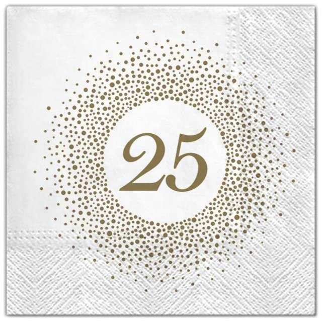 """Serwetki """"25 urodziny perła"""", Maki, 33 cm, 20 szt"""
