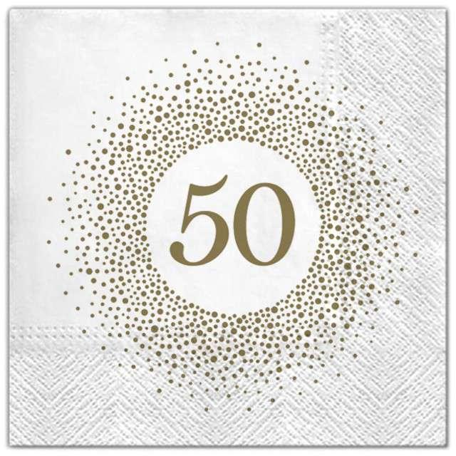"""Serwetki """"50 urodziny perła"""", Maki, 33 cm, 20 szt"""