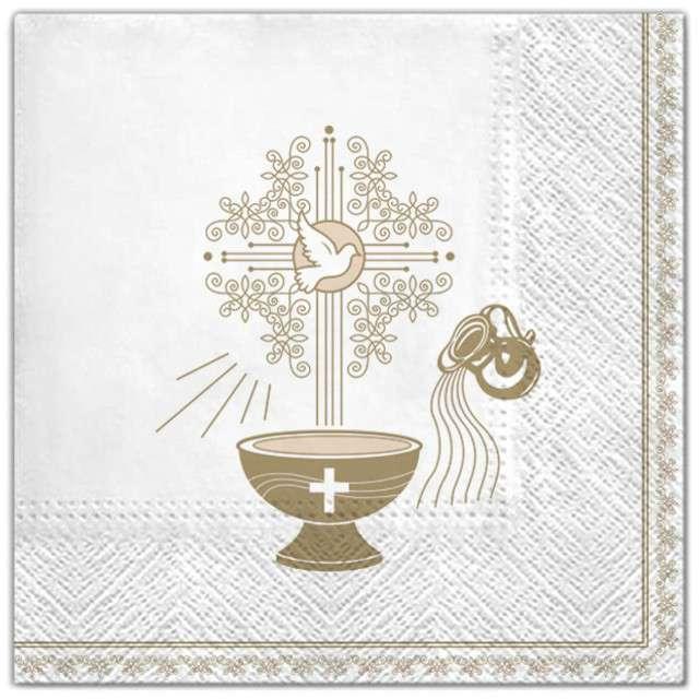 """Serwetki """"Chrzest - krzyż złoty ecru"""", Maki, 33 cm, 20 szt"""
