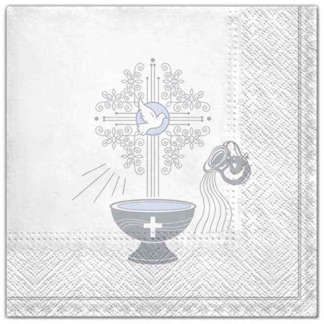 """Serwetki """"Chrzest - krzyż srebrny niebieski"""", Maki, 33 cm, 20 szt"""