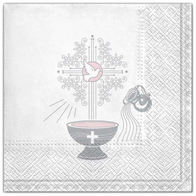 """Serwetki """"Chrzest - krzyż srebrny różowy"""", Maki, 33 cm, 20 szt"""