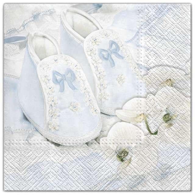 """Serwetki """"Chrzest - buciki niebieskie"""", Maki, 33 cm, 20 szt"""