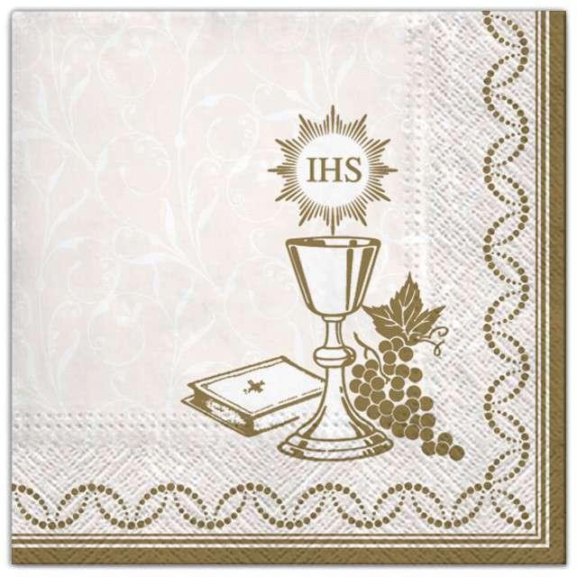 """Serwetki """"Komunia - złote symbole"""", Maki, 33 cm, 20 szt"""