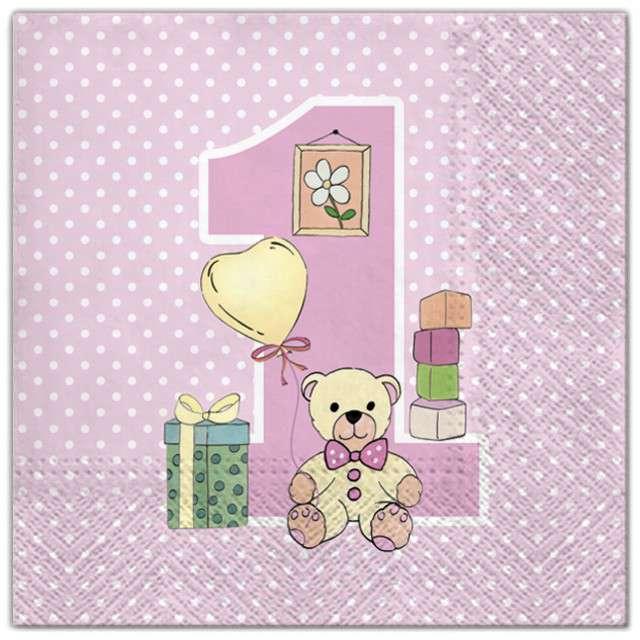 """Serwetki """"1 urodziny dziewczynki"""", Maki, 33 cm, 20 szt"""
