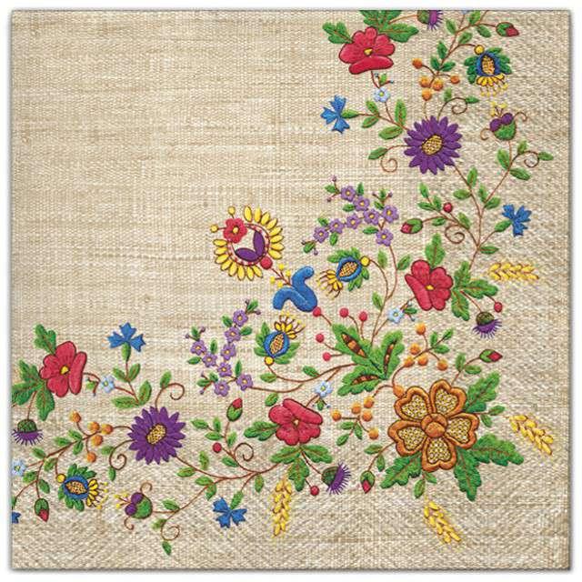 """Serwetki """"Ludowe - kaszubskie drobne kwiaty"""", Maki, 33 cm, 20 szt"""