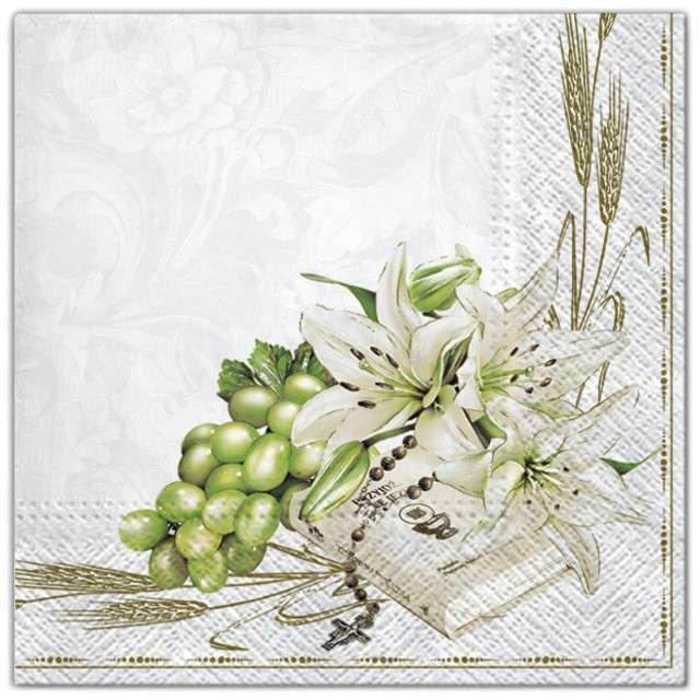 """Serwetki """"Komunia - książeczka i lilie"""", Maki, 33 cm, 20 szt"""