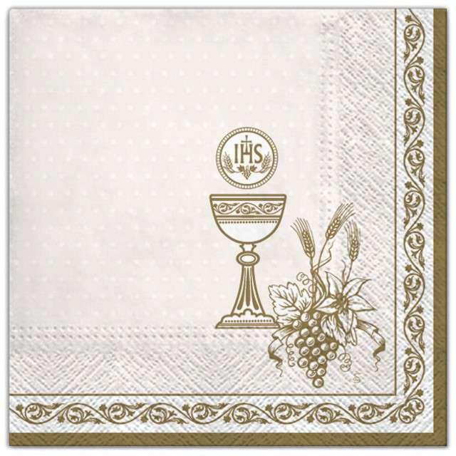 """Serwetki """"Komunia - złote symbole z ramką"""", Maki, 33 cm, 20 szt"""