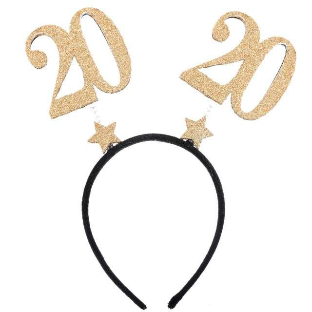 "Opaska party ""20 Urodziny"", czarno-złote, Santex"